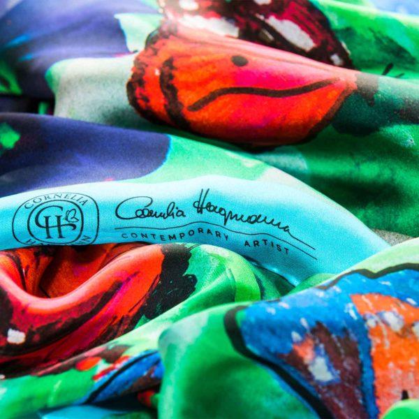 Cornelia Hagmann Contemporary Artist La Galleria Silk Scarf Butterfly Turquoise, Seidenschal, sciarpa di seta, foulard soie,