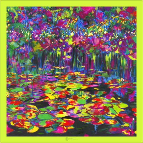 Cornelia Hagmann Contemporary Artist La Galleria Silk Scarf Peace Green, Seidenschal, sciarpa di seta, foulard soie,