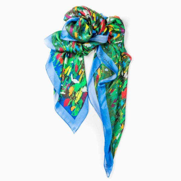 Cornelia Hagmann Contemporary Artist La Galleria Silk Scarf Primavera Blue, Seidenschal, sciarpa di seta, foulard soie,