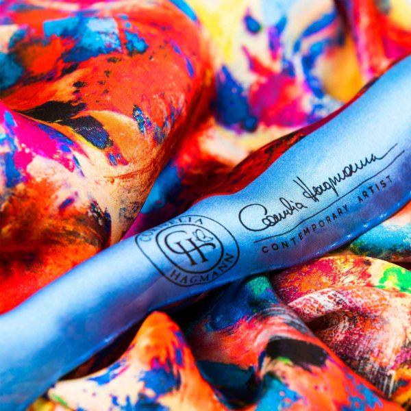 Cornelia Hagmann Contemporary Artist La Galleria Silk Scarf Talking Trees Blue, Seidenschal, sciarpa di seta, foulard soie,