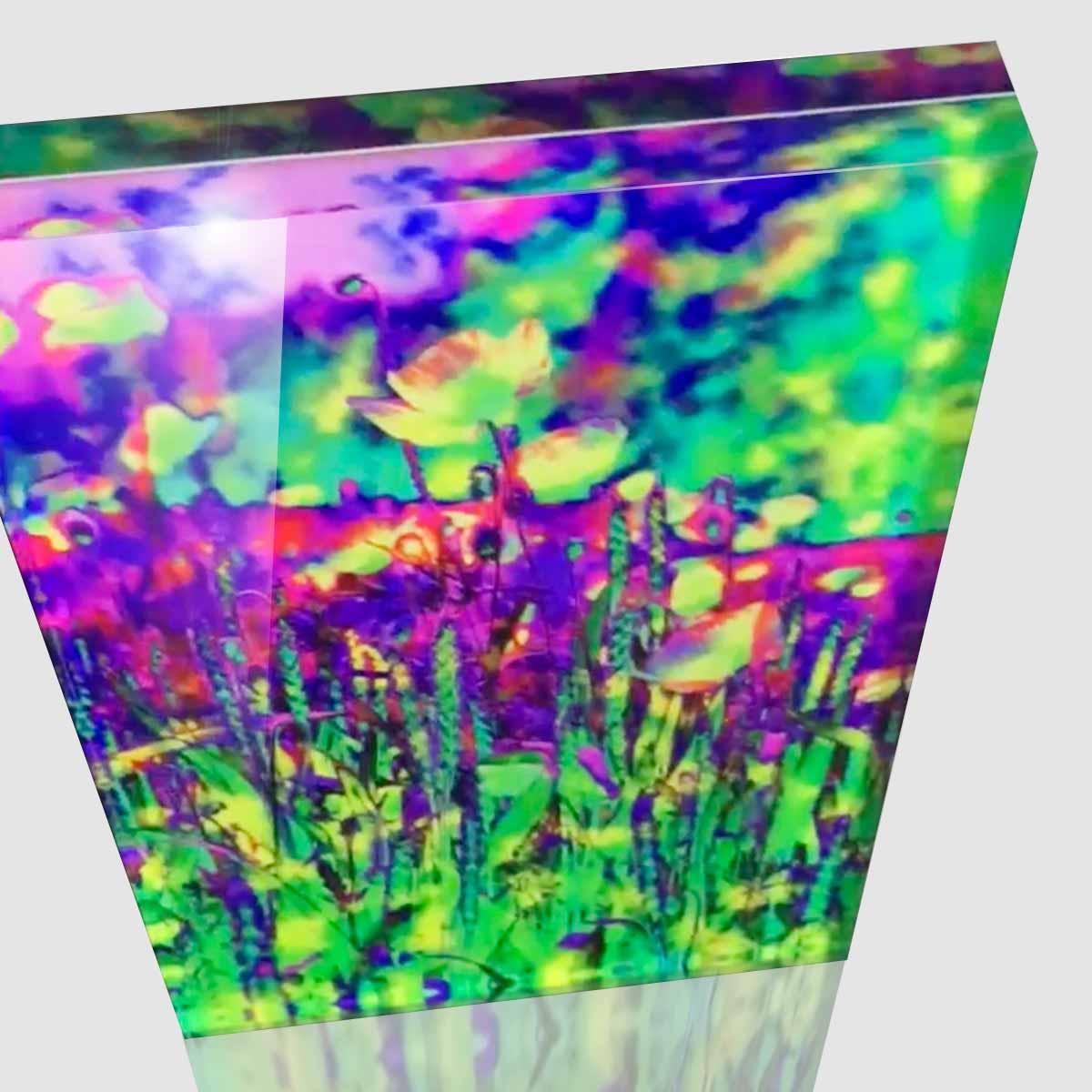 Cornelia Hagmann Artwork Acrylic Glass Sculpture Summer Meadow Purple Green