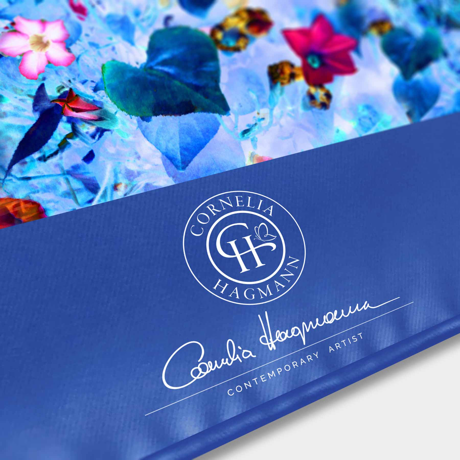 Cornelia Hagmann Silk Scarf Miracle Flowers La Galleria Detail Border, Seidenschal, sciarpa di seta, foulard soie,