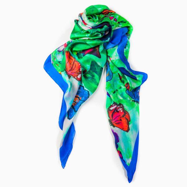 Cornelia Hagmann Contemporary Artist La Galleria Silk Scarf Butterfly Blue, Seidenschal, sciarpa di seta, foulard soie,