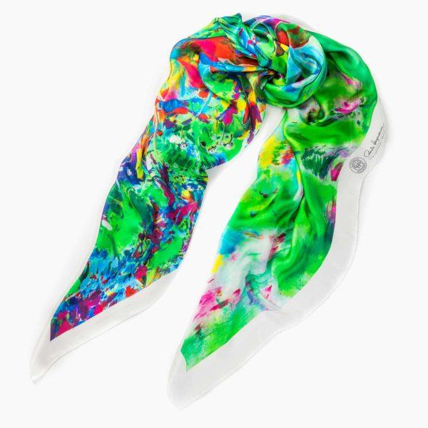 Cornelia Hagmann Contemporary Artist La Galleria Silk Scarf The Majesty of Colours White, Seidenschal, sciarpa di seta, foulard soie,