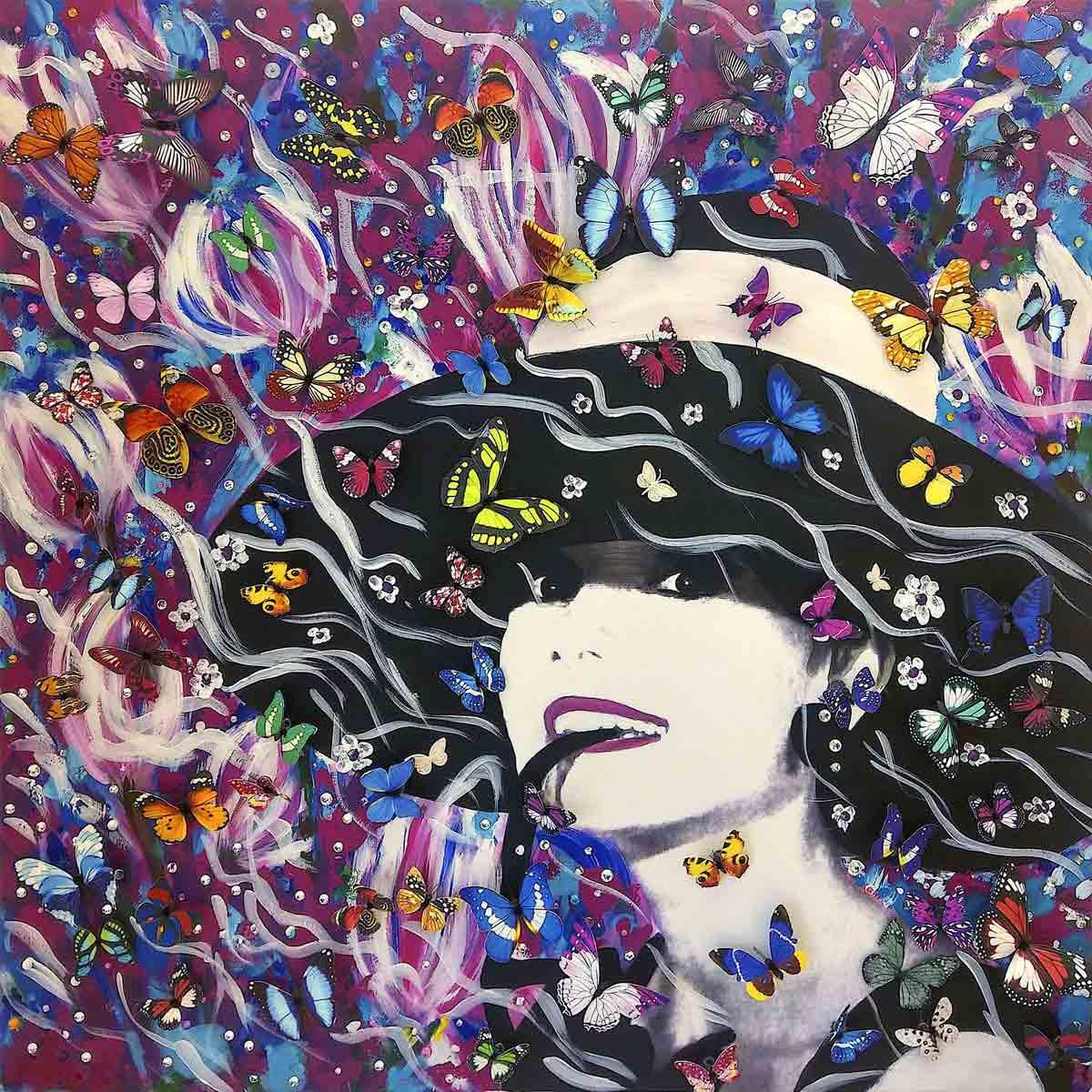 Contemporary Artist Cornelia Hagmann La Galleria Fine Art Prints, Seidenschal, sciarpa di seta, foulard soie,