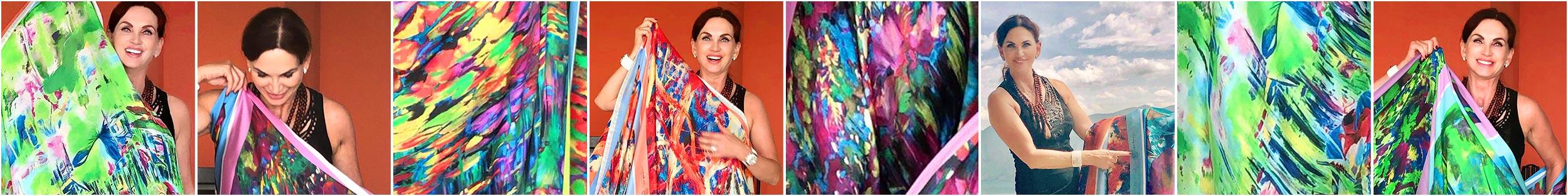 Contemporary Artist Cornelia Hagmann La Galleria Silk Scarves Portfolio, Seidenschal, sciarpa di seta, foulard soie,