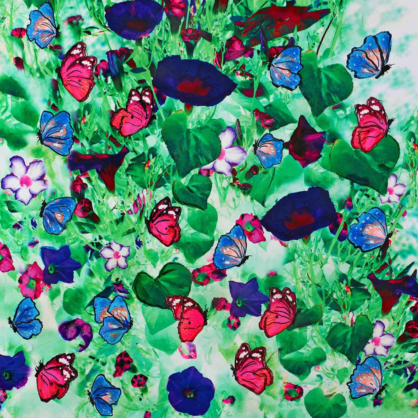 Cornelia Hagmann Contemporary Artist Limited Edition Butterfly Green, Seidenschal, sciarpa di seta, foulard soie,